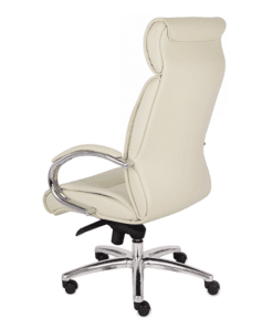 біле шкіряне офісне крісло GROSPOL Supreme
